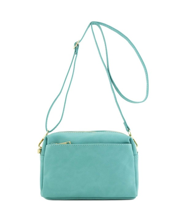 Triple Zip Small Crossbody Turquoise