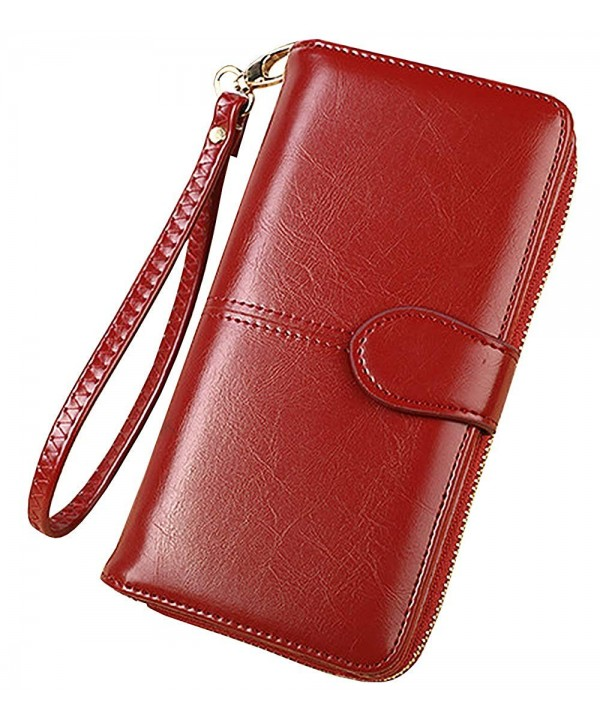 Womens Wallet Leather Holder Zipper