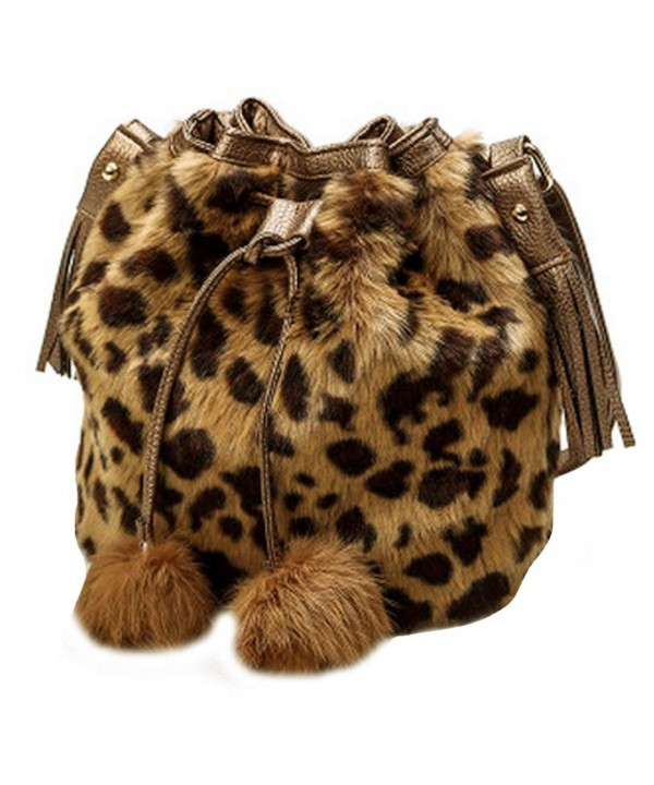Shoulder Handbag Bucket Drawstring Leopard