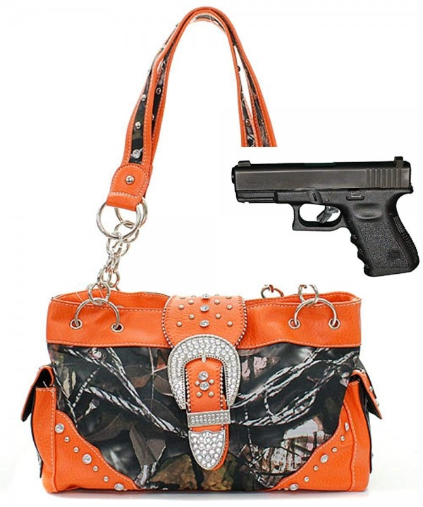 CONCEALED HANDGUN CARRYING CAMOUFLAGE PURSE ORANGE