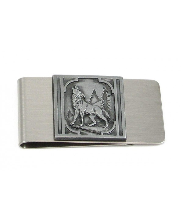 Large Money Clip Howling Wolf