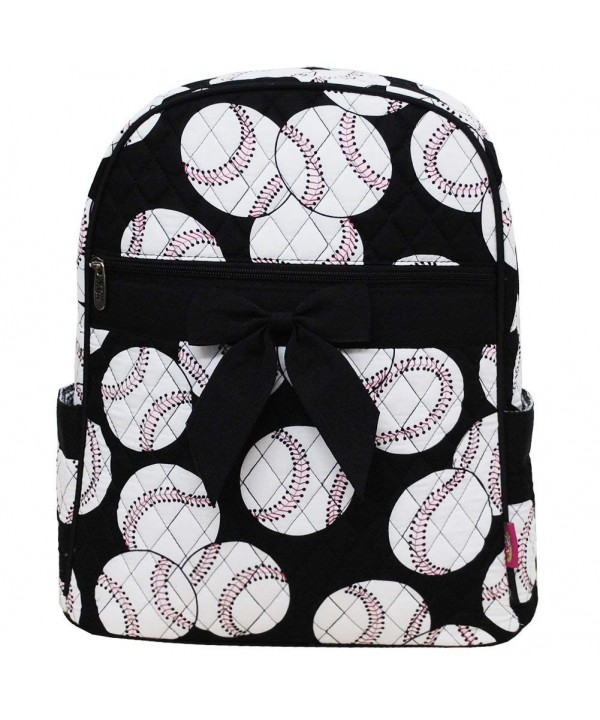 Baseball Print Quilted Backpack Black