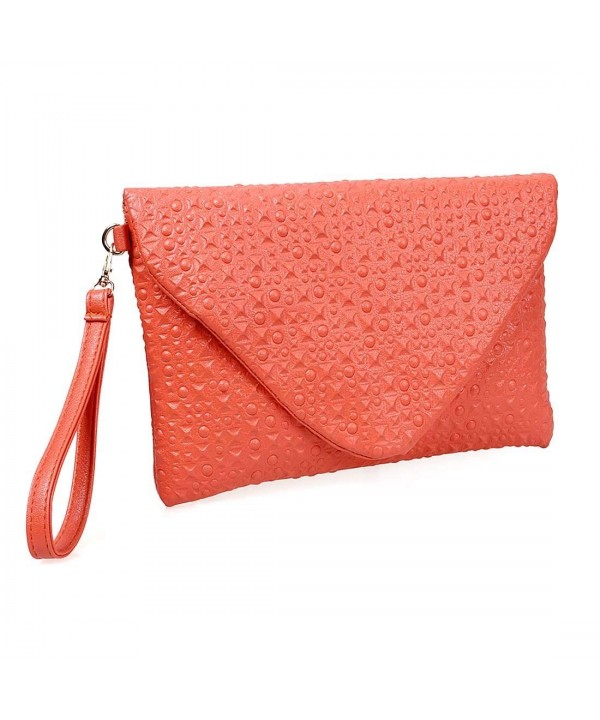 Tangerine Leather Envelope Studded Pattern