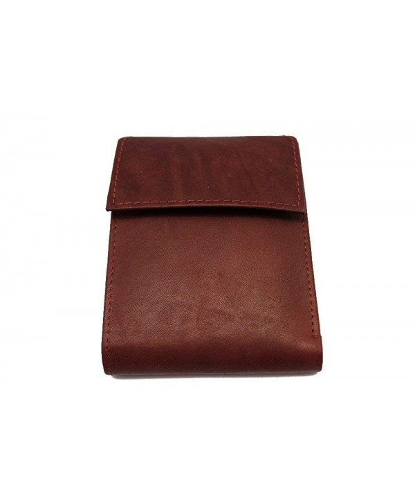Leather Bi fold Wallet Velcro JTC 5152 Maroon