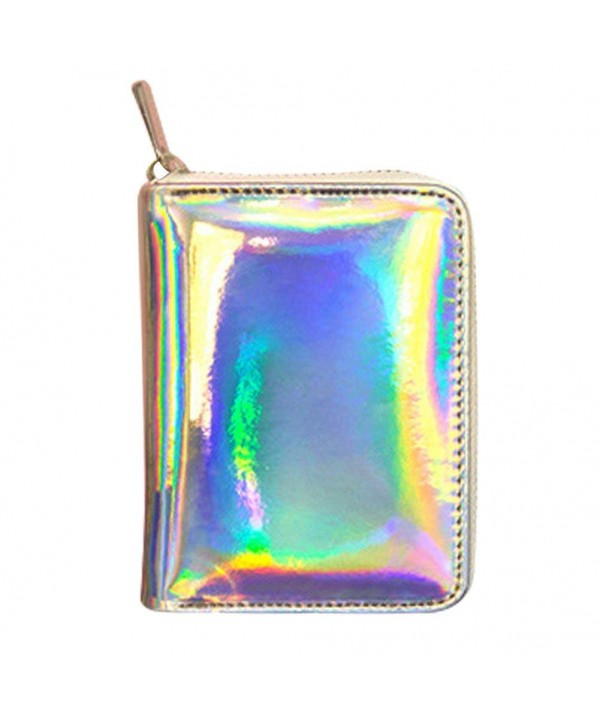Womens Hologram Leather Around Wallet