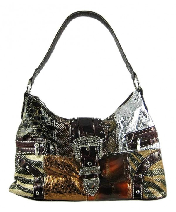 Womens Handbags Patchwork Animal Rhinestone