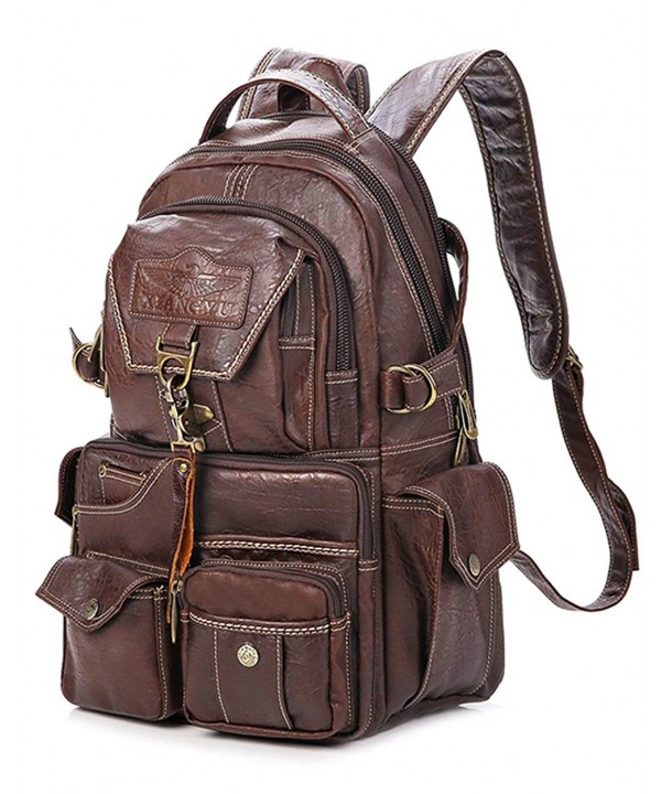 Vintage Leather Casual Backpack Pocket