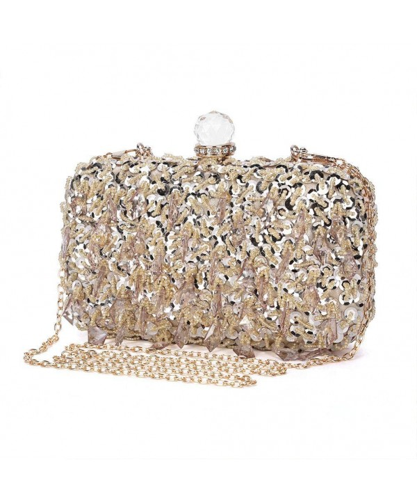 129d168364dee Women s Vintage Kiss Lock Beaded Sequin Design Flower Evening Clutch ...