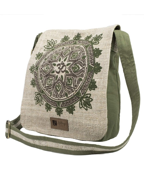 Natural Hemp Cotton Mandala Messenger Bag Sage One