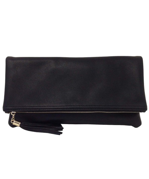 Leather Oversize Foldover Clutch Tassel