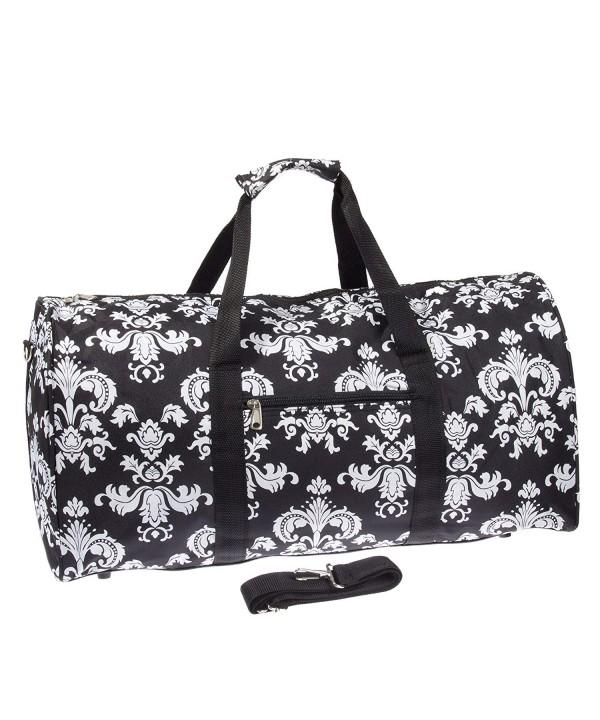 Damask Print Luggage Duffle Black