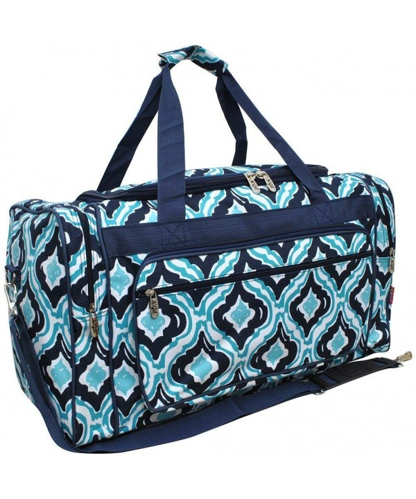 Quatrefoil Print Canvas Shoulder Duffle