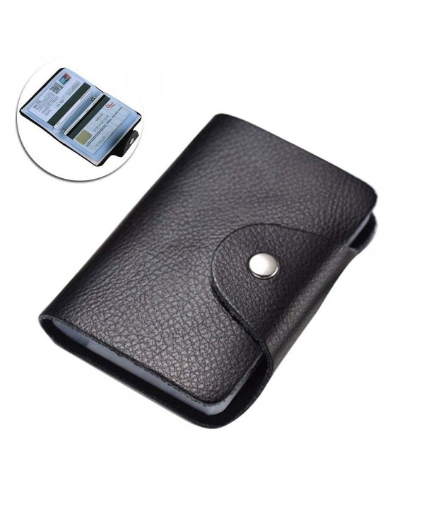 Leather Holder Wallet Business Cards BLACK