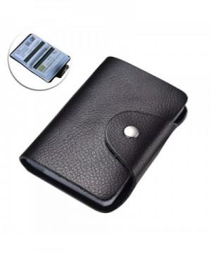 Leather Holder Wallet Business Cards BLACK