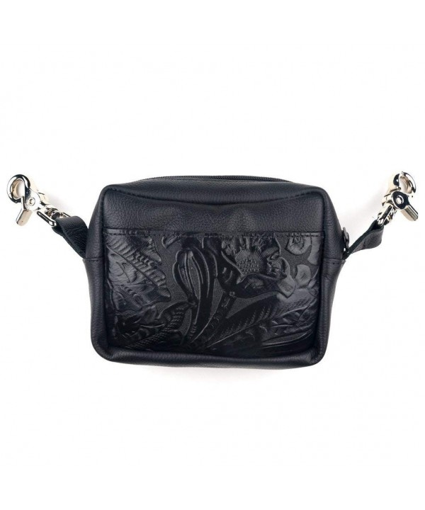 Genuine Leather Floral Tooled Purse