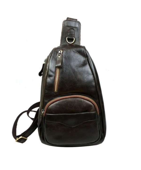 4566b545d1 Genuine Leather Cross Chest Shoulder Sling Bag Small Backpack ...