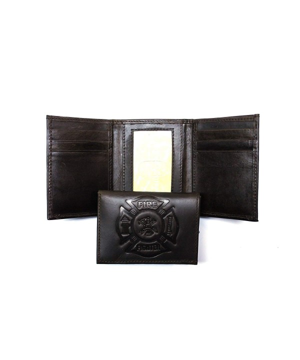 Firefighter Embossed Trifold Wallet Brown