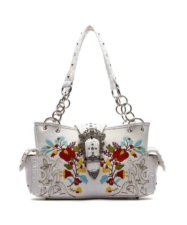 Western Handbag Silver Embroidered Satchel