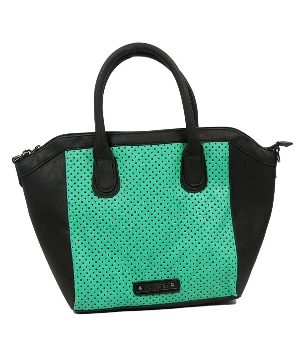 Rose Perforated Star Tote Aqua