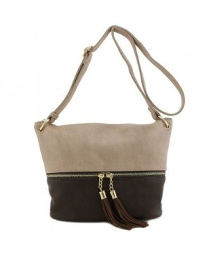 Tassel Accent Bucket Crossbody Coffee