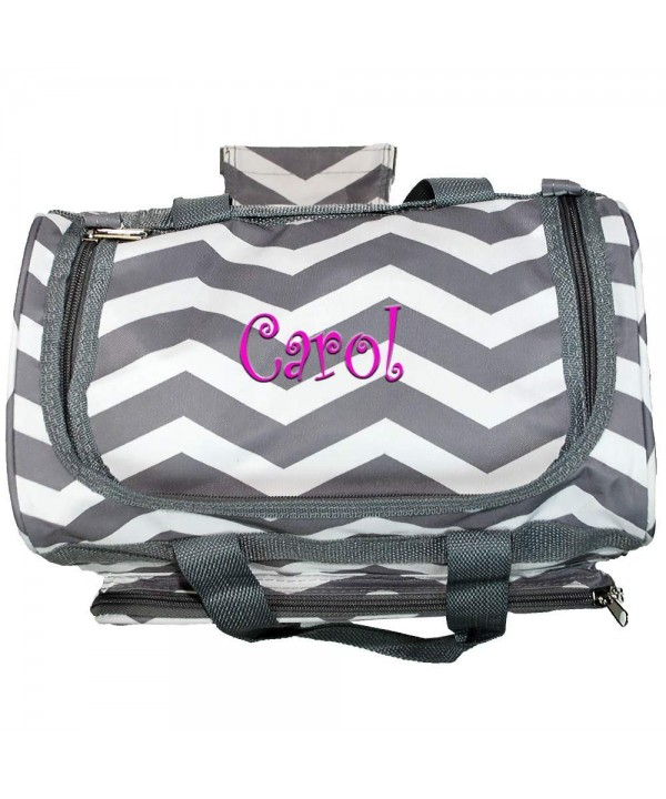 Monogrammed Gray Chevron Mini Duffle