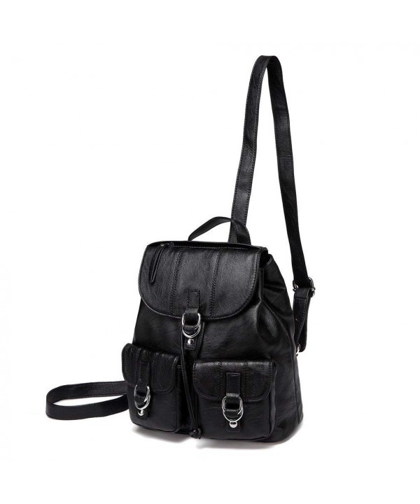 VASCHY Backpack Fashion Leather Flap Drawstring