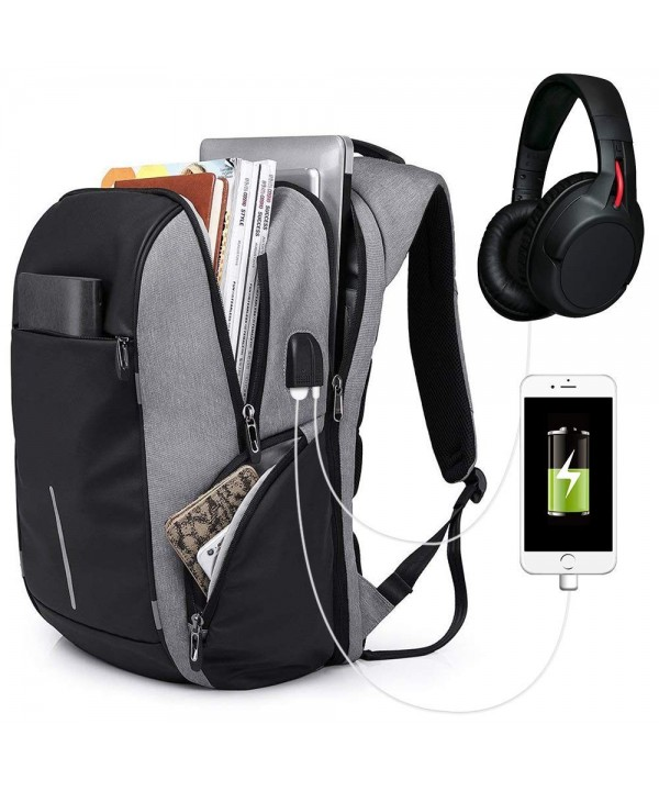 KAKA Backpack Waterproof Headphones Hole Gray