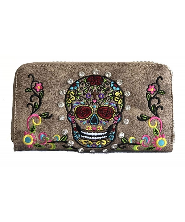 SUGAR EMBROIDERED CLUTCH CHECKBOOK WALLET