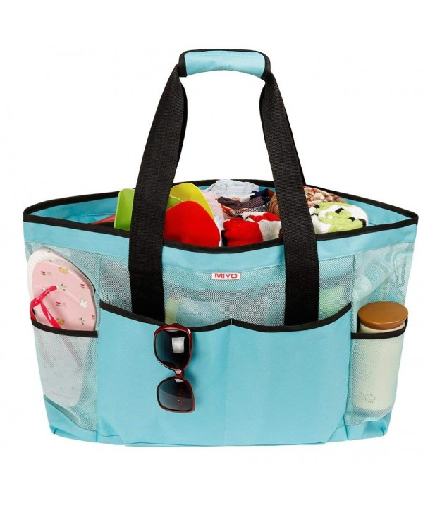 03ff5903f164 Mesh Beach Bag -Extra Large Beach Tote Bag - Grocery & Picnic Tote Travel  Bags - Blue - CP18EOCQK96