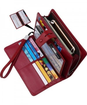 women RFID Blocking Leather checkbook organizer