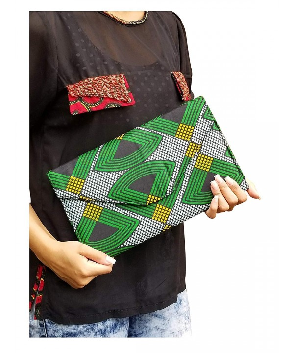 Green Black African Print Clutch