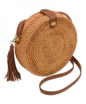 Handwoven Round Rattan Bag Women