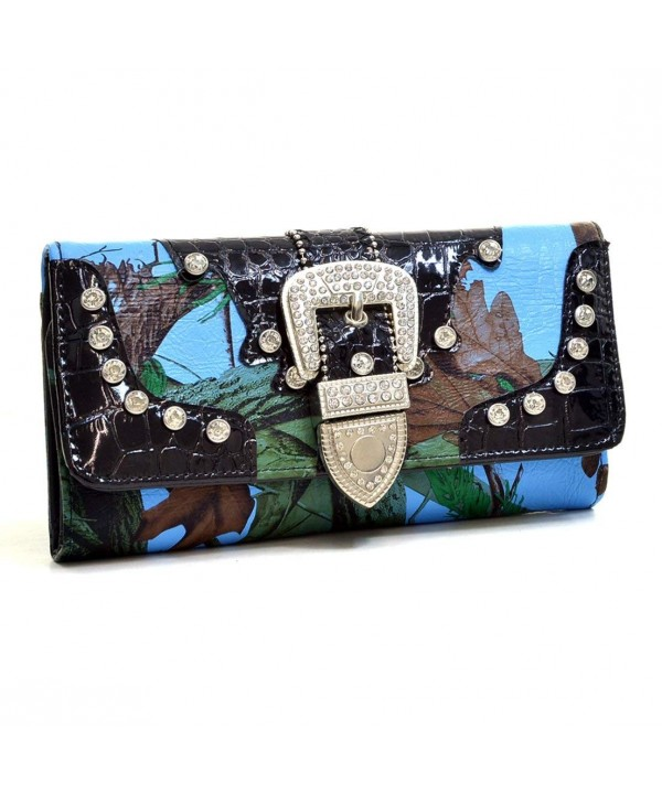 Western Leather Rhinestone Tri Fold Pocketbook