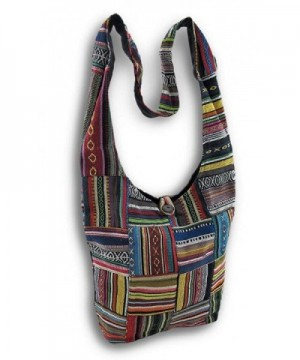 Cotton Handbags Striped Patchwork Multicolored
