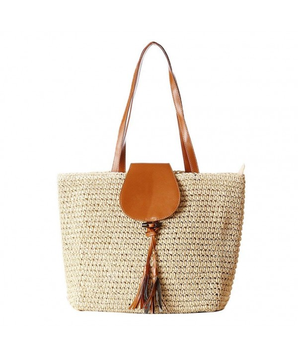 Donalworld Rattan Summer Shoulder Handbag