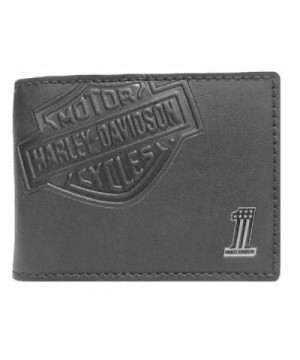Harley Davidson Embossed Shield Wallet CR2375L BLACK