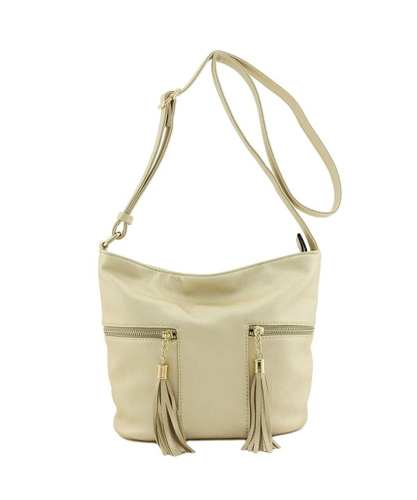 Tassel Accented Double Pocket Crossbody