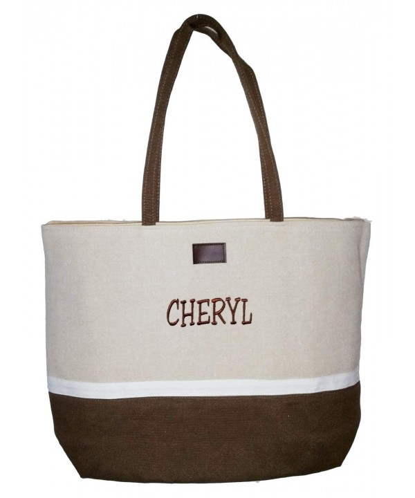 Color Block Zippered Top Tote Beach Bag 21 X 14 6 Personalized Brown Name Ca127gxpe65