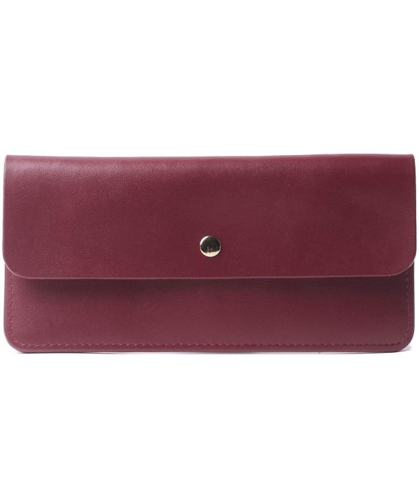 Borgasets Womens Envelope Leather Wallet