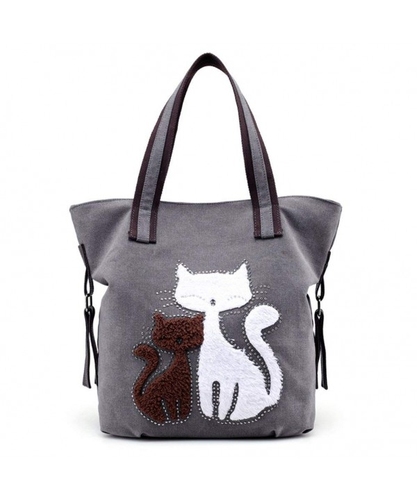 Womens Cat Canvas Shoulder Bag