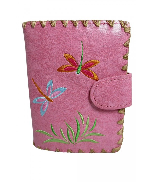 Lavishy Dragonfly Embroidery Leather Wallet