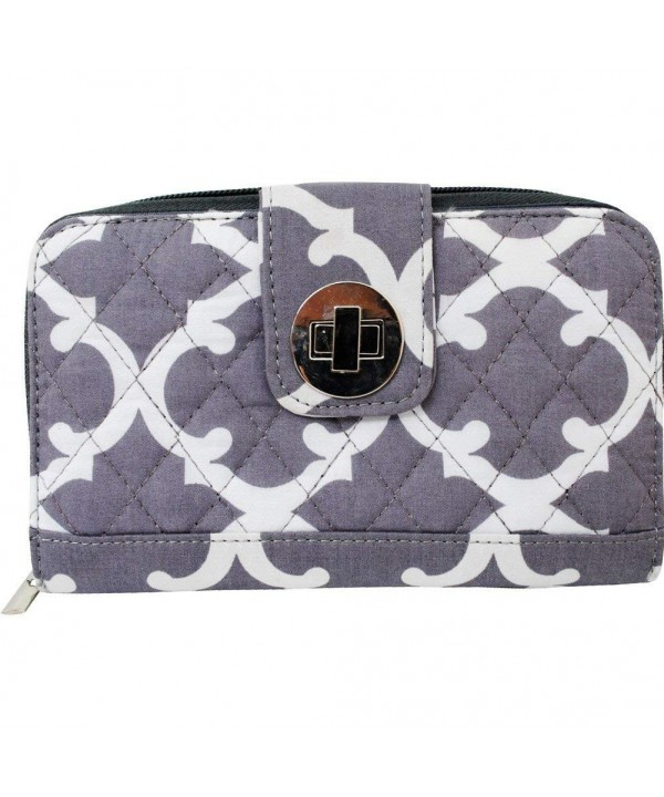 Geometric Clover Pattern Quilted Wallet