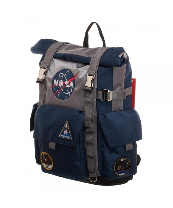 NASA Roll Top Backpack Blue Grey