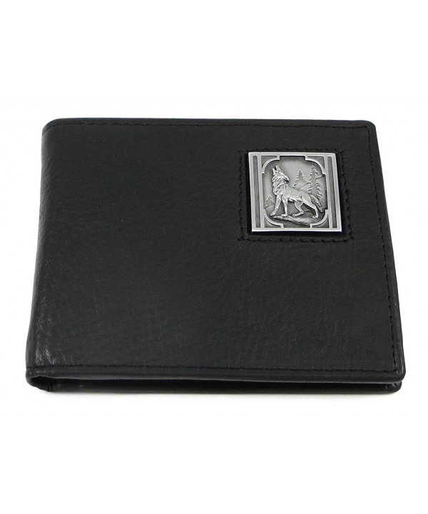 Howling Wolf Leather Bi fold Wallet