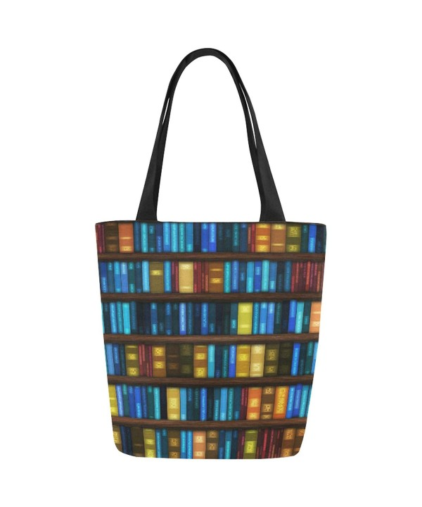InterestPrint Bookshelf Canvas Shoulder Handbag